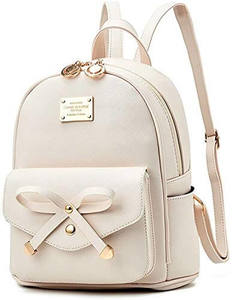 I IHAYNER Girls Bowknot Cute Leather Backpack
