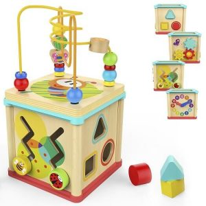 TOP BRIGHT Activity Cube Wooden Toys