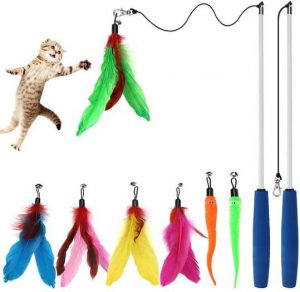 chicwow cat interactive feather wand